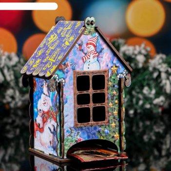 Чайный домик новогодний снеговик, цветной, 9.7x17.5x9.7 см