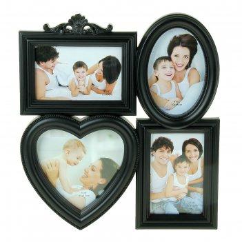 Фоторамка на 4 фото 10х15 см семейная чёрная