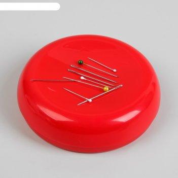 Игольница магнитная, d = 10,5 см, цвет красный