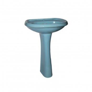 Умывальник santeri воротынский с пьедесталом, голубой