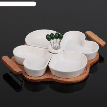 Набор мисок для снэков эстет, 4 шт, со шпажками, на деревянной подставке
