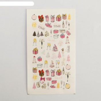 Наклейки для ногтей гламурный новый год 5,2 x 10 см