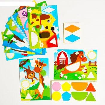 Мозаика с шаблонами весёлые зверятаг