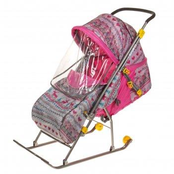 Санки- коляска умка 3. вязанный узор, цвет: розовый