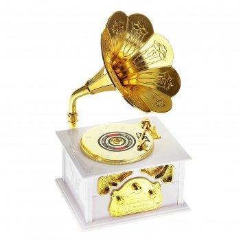 Шкатулка музыкальная патефон золотистый, микс