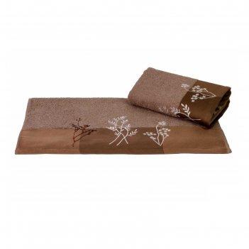 Полотенце flora, размер 70 x 140 см, коричневый