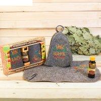 Набор банный царь шапка с вышивкой, коврик с вышивкой, ароматизатор