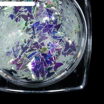 Пайетки «бабочки» для декора ногтей, цвет прозрачный