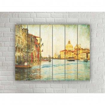 Картина на дереве в стиле loft венеция №1.3, 56*42 см