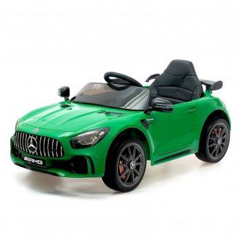 Электромобиль mercedes-benz gt-r amg, окраска зеленый, eva колеса, кожаное
