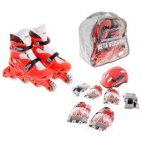Набор ролики раздвижные + защита, колеса pvc 64 мм, пластиковая рама, cora