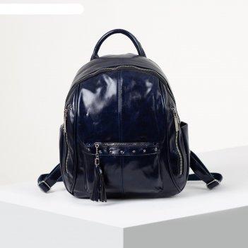 Рюкзак молодёжный, отдел на молнии, 6 наружных карманов, цвет синий