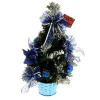 Ёлка декоративная синяя пуансеттия в снегу