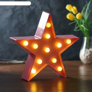 Ночник пластик от батареек 2аа звезда микс 24х24х2,8 см