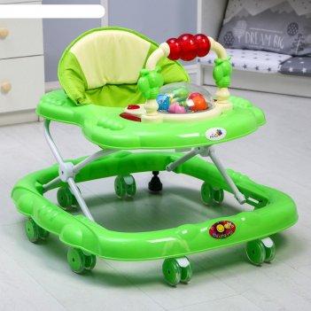 Ходунки «маленькие друзья», 8 силик. колес, муз., свет, игрушки, зеленый