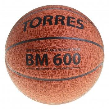 Мяч баскетбольный torres bm600 р.6, пвх, темно-оранжево-черный