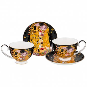 Чайный набор на 2 персоны поцелуй (г. климт) 4 пр. 250 мл черный (кор=12шт