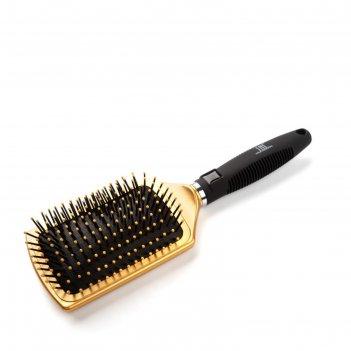 Щетка массажная для волос tnl прямоугольная широкая, нейлоновые штифты, 65
