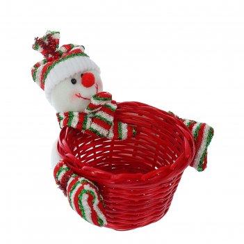 Конфетница снеговичок полосатая шапочка, вместимость 200 грамм