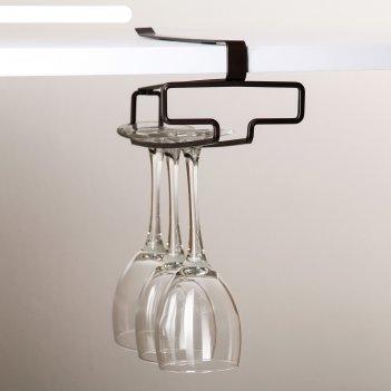 Держатель для бокалов подвесной 10,5x26x7,5 см, цвет коричневый