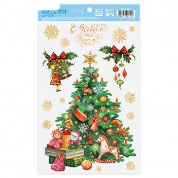 Наклейка для окон «новогодняя ёлочка», 20 х 34,5 см