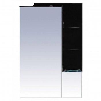 Шкаф-зеркало misty петра 65, правый, с подсветкой, черная эмаль