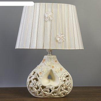 Лампа настольная с абажуром узоры белая с золотом е14 40w 19х27,5х37 см