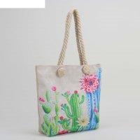 Сумка женская пляжная сад кактусов, 35*40 см