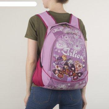 Рюкзак школьный, 2 отдела на молниях, 2 наружных кармана, эргономичная спи