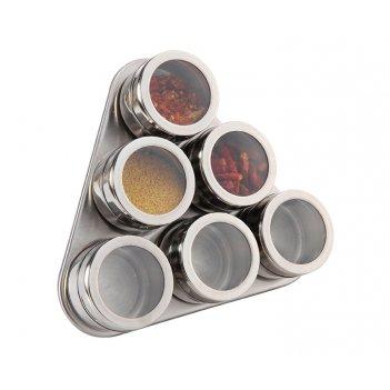 Набор для специй agness 7 пр.на магнитах, в т.ч. метал.подставка 20*22*5 с