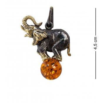 Am-1215 подвеска слон на шаре (латунь, янтарь)