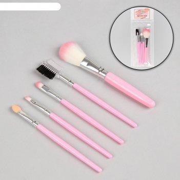 Набор кистей для макияжа «нежность», 5 предметов, цвет розовый