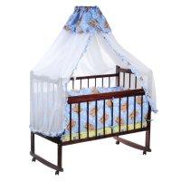 Комплект в кроватку малютка, 4 предмета, голубой, рисунок микс