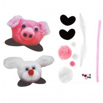 Набор для творчества наклейка зайчик, свинка 2 шт