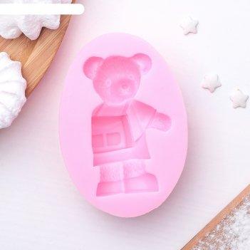 Молд 8,6х6х2,3 см медведь, розовый