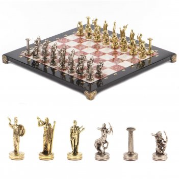 Шахматы подвиги геракла доска 360х360 мм мрамор креноид металл