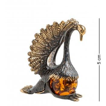 Am-1239 фигурка лебедь (латунь, янтарь)