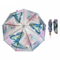 Зонт автоматический «бабочки», 3 сложения, 9 спиц, r = 51 см, цвет сиренев