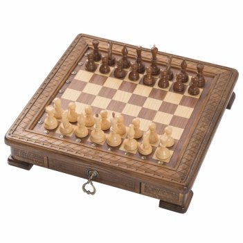 Шахматы резные квадро в ларце 50, haleyan