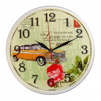 Часы настенные круглые жёлтый олд кар, 25 см