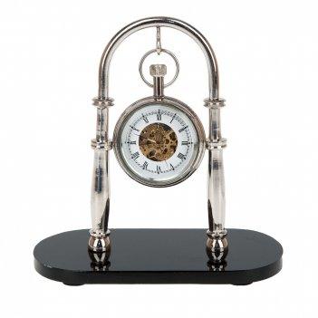 Часы настольные, механические (часы-d=5см.) 14*7*14см. (металл-никель, алю