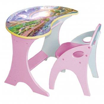 Набор мебели капелька, столик и стульчик, цвет розовый, космошкола