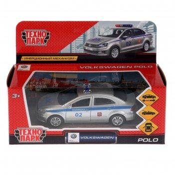 Машина металлическая vw polo полиция 12 см, откр двери, багажник, инерцион