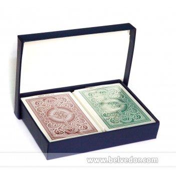Карты кем в картонной коробке - стрела пластиковые - (красн/син, черн/зол)