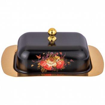 Масленка agness с металл. крышкой черное золото 19*12*7 см