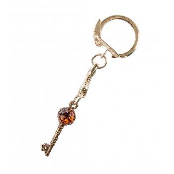 Am-029 брелок ключ мал. (латунь, янтарь)