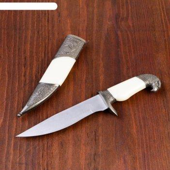 Сувенирный нож, рукоять белая с головой орла