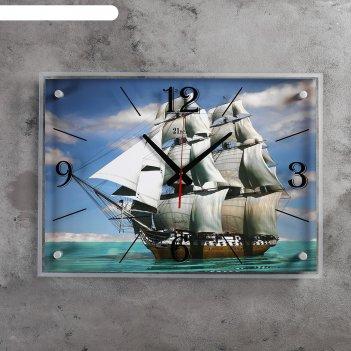 Часы настенные, серия: море, парусник, 40х56 см микс