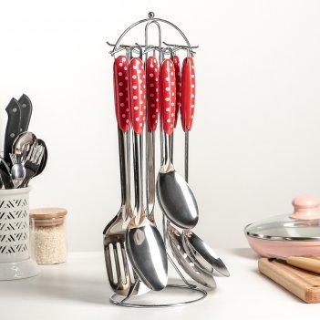 Набор кухонных принадлежностей горошек, 6 предметов на подставке, ручная п