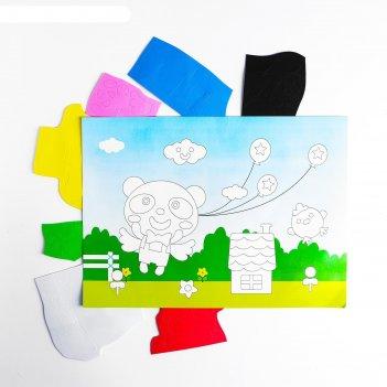 Аппликация 3d панда с воздушными шариками из еva